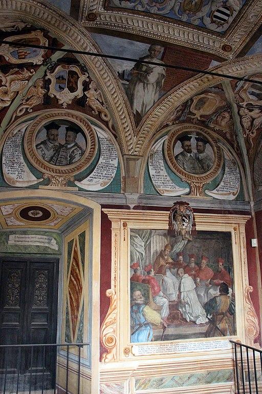 Monte Oliveto Maggiore, vestibolo della biblioteca, dipinti di Antonio Müller di Danzica (1631)