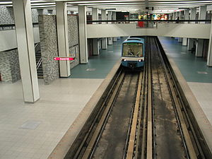 Green Line (Montreal Metro) - A Green Line train arrives at Place-des-Arts station.