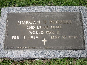 Morgan D. Peoples - Morgan Peoples' gravestone in Forest Lawn Memorial Park in Ruston