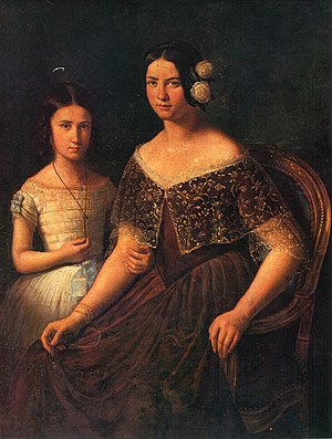 English: Mother and daughter painting by Konst...