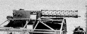 MG 08 - Sideview of the earliest version of the lMG 08 aircraft machine gun, with the overly-slotted cooling barrel that made it a physically fragile weapon in front-line use.
