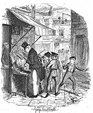 Mr. Brownlow - Oliver is shocked when the Artful Dodger steals Mr Brownlow's handkerchief at the bookstall. Illustration by George Cruikshank.