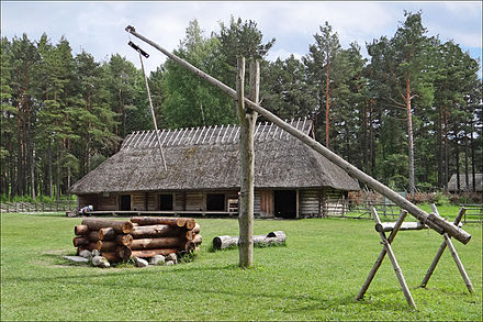 A traditional farmhouse built in the Estonian vernacular style. Musee de plein air (Tallinn) (7644656256).jpg