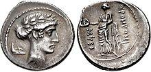 Muse Thalia, Denarius, 56 B.C., Rome.jpg