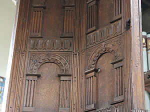 Abbotsbury - The parish church's Jacobean pulpit, showing damage from the Civil War skirmish (bullet hole on right)