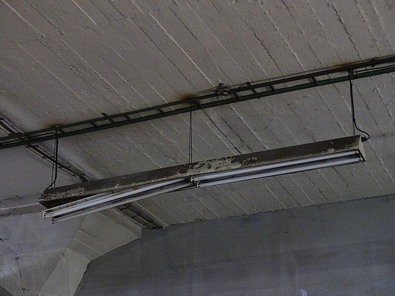 File:Nákladové nádraží Žižkov, interiér skladu, zářivky.jpg