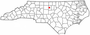 Glen Raven, North Carolina - Image: NC Map doton Glen Raven