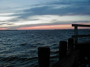 Barnegat Bay - Looking north-northwest from Barnegat Light toward mainland New Jersey