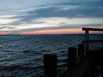 Looking over Barnegat Bay from Barnegat Light,...
