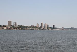 North Hudson, New Jersey - View to West New York, Guttenberg, North Bergen from the Hudson River showing tallest buildings in North Hudson