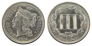 Three-cent nickel - Image: NNC US 1865 3C Three Cent, Nickel