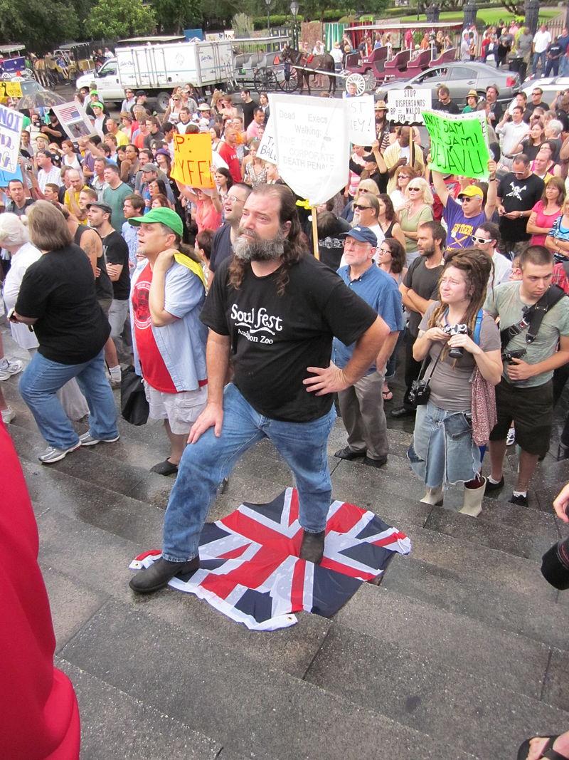 NOLA BP Oil Flood Protest Union Jack stand.JPG