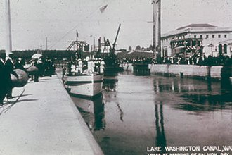 W. T. Preston - Dedication of the Hiram M. Chittenden Locks on 4 July 1917, showing the Swinomish in the background, from which the W.T. Preston was built.