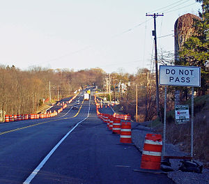 New York State Route 17K - Widening of NY 17K at Drury Lane in December 2006