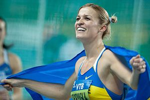 Women's pentathlon - Nataliya Dobrynska celebrating her pentathlon win at the 2012 IAAF World Indoor Championships
