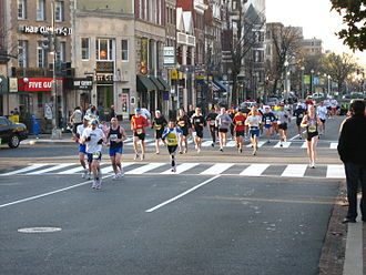 Sport of athletics - Runners in the popular National Marathon race in Washington, D.C.