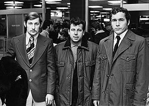 Josef Masopust - (l-r) Zdeněk Nehoda, Masopust and Ivo Viktor in 1974
