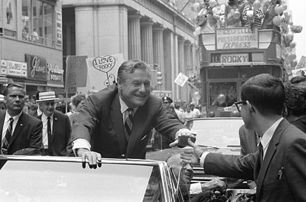 Rockefeller campaigning for the Republican presidential nomination in 1968 Nelson Rockefeller 1968 presidential campaign.jpg