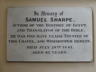 Samuel Sharpe (scholar) - Plaque to Sharpe in Newington Green Unitarian Church