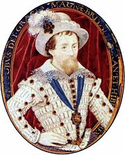 Portrait of James by Nicholas Hilliard, from the period 1603–1609.