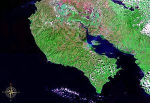 Nicoya Peninsula - Nicoya Peninsula seen from space (false color)