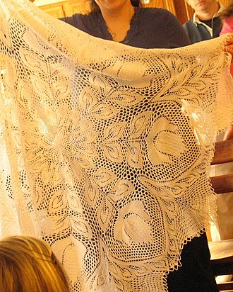 """Lace knitting - Knitted lace tablecloth based on the pattern """"Lyra"""" by Herbert Niebling"""