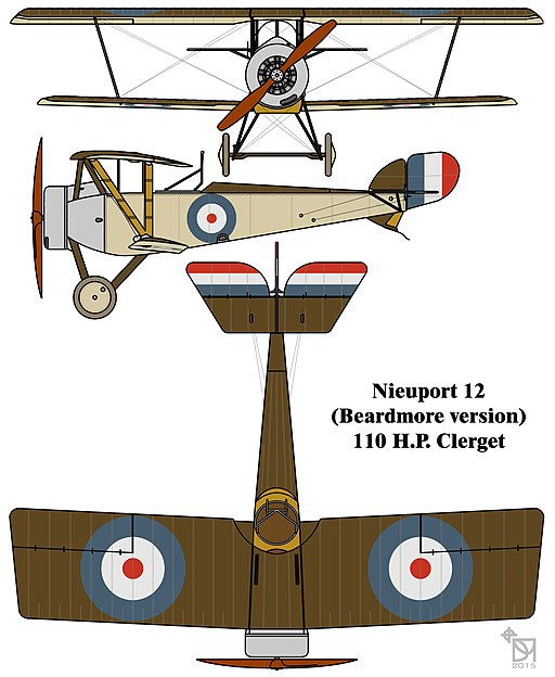 Nieuport 12 (Beardmore) colourized drawing