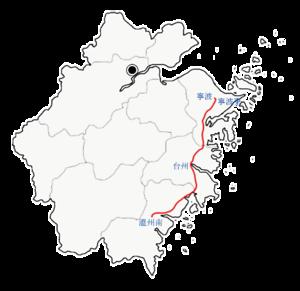 Ningbo–Taizhou–Wenzhou Railway - The Ningbo-Taizhou-Wenzhou Railway on the coast of Zhejiang Province.