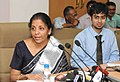 Nirmala Sitharaman addressing at the inauguration of the Dash Board with EXIM Analytics, developed by the DGCIS for dissemination of information relating to foreign trade, in New Delhi.jpg