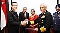 Nirmala Sitharaman and the Defence Minister of Singapore, Dr. Ng Eng Hen, in New Delhi.jpg