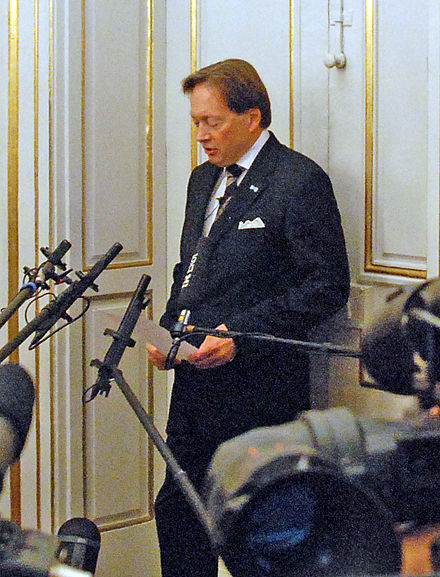Horace Engdahl, the former permanent secretary of the Swedish Academy, announcing that Jean-Marie Gustave Le Clezio won the 2008 Nobel Prize in Literature Nobel2008Literature news conference1-1.jpg