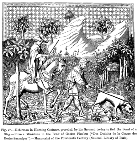 Nobleman in hunting costume with his servant following the scent of a stag, 14th century Nobleman in Hunting Costume preceded by his Servant trying to find the Scent of a Stag.png