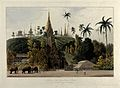 North view of the Great Pagoda, Prome, Burma. Coloured aquat Wellcome V0050499.jpg