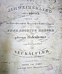 Titelblatt einer Komposition von Ferdinand Neukäufler, um 1830 (Quelle: Wikimedia)