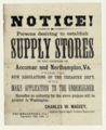 Notice! Persons desiring to establish Supply Stores in the Counties of Accomac and Northampton, Va. Drummondtown, Virginia, 1864.png