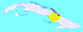 Nuevitas municipality (red) within  Camagüey Province (yellow) and Cuba