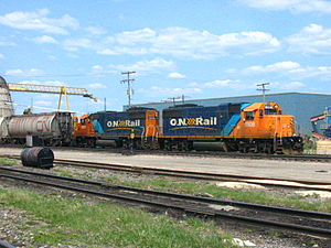 Ontario Northland Railway - A pair of Ontario Northland diesels in Hearst in 2003.
