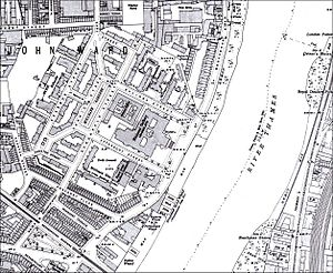 Millbank - Ordnance Survey maps of London extract for 1916 showing area around the Tate