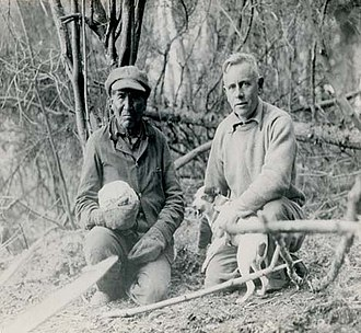 Ernest Oberholtzer - Oberholtzer (right) with dog Skippy and Ojibwe trapper and guide Billy Maggie