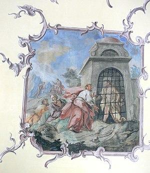 Messengers from John the Baptist - John the Baptist in prison, by Josef Anton Hafner, 1750.