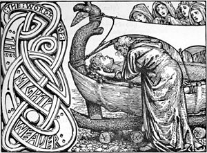 "Baldr - ""Odin's last words to Baldr"" (1908) by W. G. Collingwood."