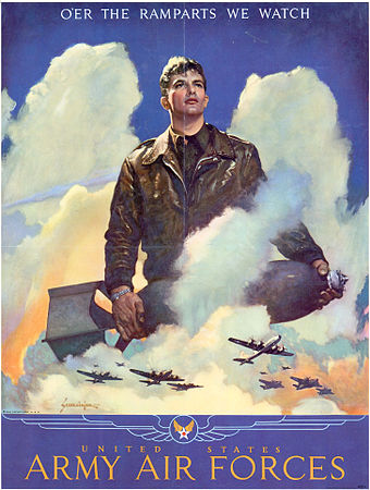 O'er the ramparts we watch in a 1945 United States Army Air Forces poster Oer the ramparts we watch.jpg
