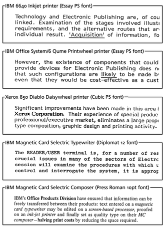 Word processor - Examples of standalone word processor typefaces c. 1980–1981