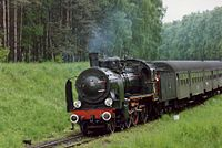 Ok1-359 comes off the Sulechow branch, Wolsztyn May 1991 (4144539536).jpg