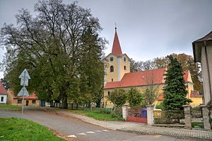 Ondřejov (Prague-East District) - The Church of St. Simon and Jude, in the village centre.