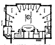 Plan of interior with large open central area; remaining portion divided into 10 rooms by radial partitions
