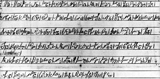 Cherokee syllabary - Sequoyah's original syllabary characters, showing both the script forms and the print forms
