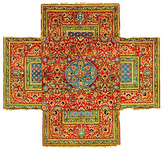 Egypt Eyalet - Ottoman Cairene cruciform table carpet, mid 16th century