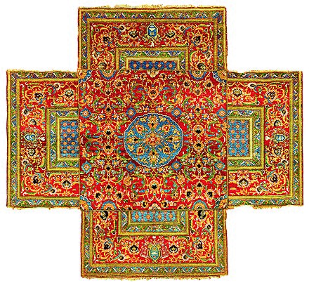 Ottoman Cairene cruciform table carpet, mid 16th century Ottoman cruciform table carpet.jpg