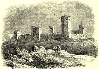 Oxford Castle - How an artist in 1845 imagined Oxford Castle looked in the 15th century